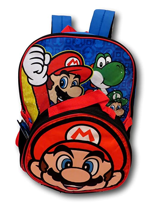 201150cd05c5 Amazon.com  Nintendo Super Mario Bros. Backpack with Detachable Insulated  Lunch Box (Red)  L J BACKPACK