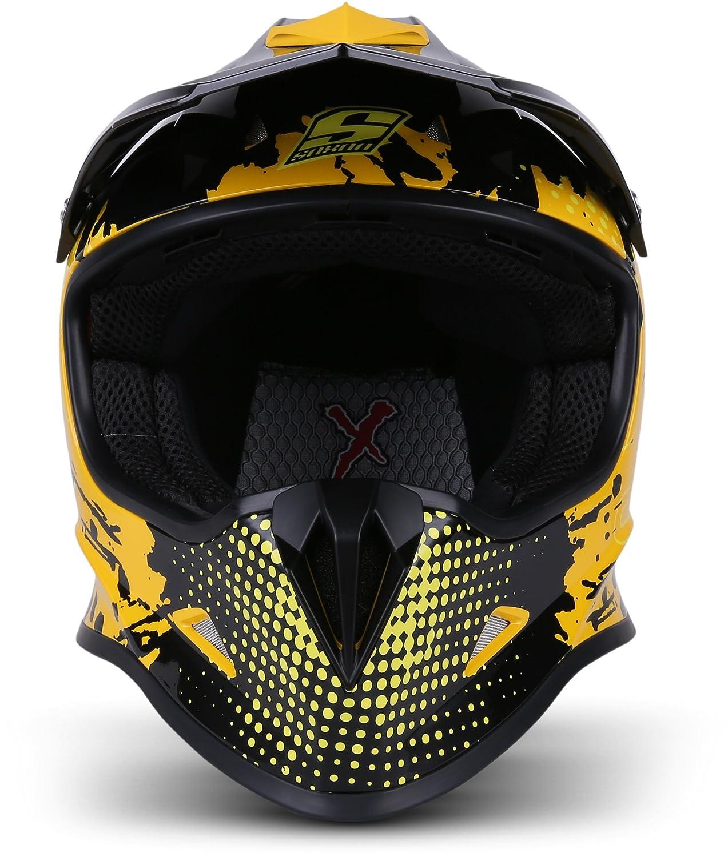 """Soxon/® SKC-33 /""""Fusion Blue/"""" /· Kinder-Cross-Helm /· Motorrad-Helm MX Cross-Helm MTB BMX Downhill /· ECE Schnellverschluss SlimShell Tasche XXS 49-50cm"""