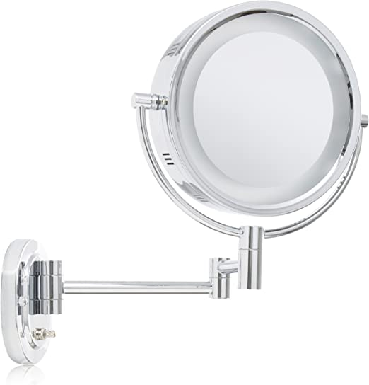 14-Inch Extension Chrome Finish Jerdon HL65C 8-Inch Two-Sided Swivel Halo Lighted Wall Mount Mirror with 5x Magnification