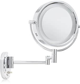jerdon hl9515n 8 inch two sided swivel oval halo lighted wall jerdon style llc hl65c 8 inch 5x magnification lighted wall mount mirror