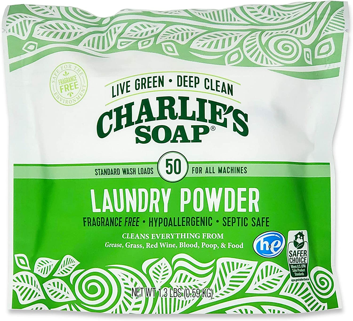 Charlie's Soap Laundry Powder (50 Loads, 1 Pack) Hypoallergenic Deep Cleaning Washing Powder Detergent – Eco-Friendly, Safe, and Effective