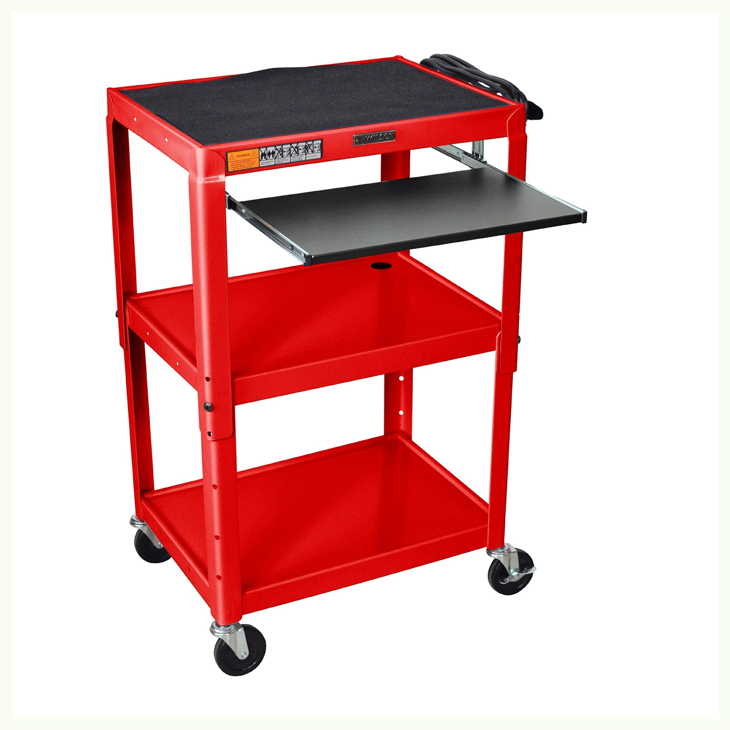 HEATAPPLY Mobile Stand Up Computer Desk Workstation Cart in Red Steel