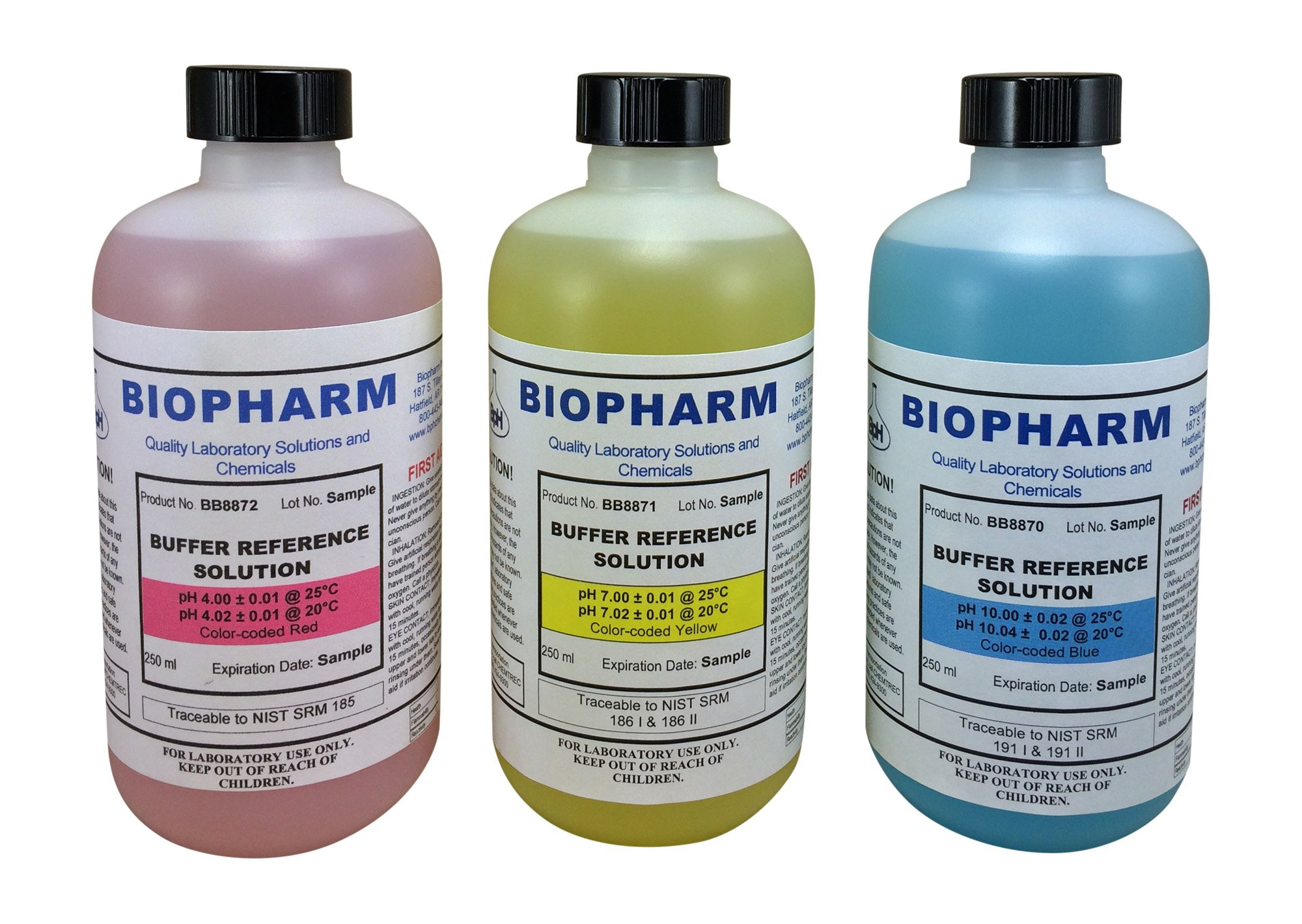 Biopharm Buffer Calibration Solution Kit 3-Pack of 250 ml (8oz) each pH 4, 7 and 10 Calibration Standards Color coded NIST Traceable For All pH meters