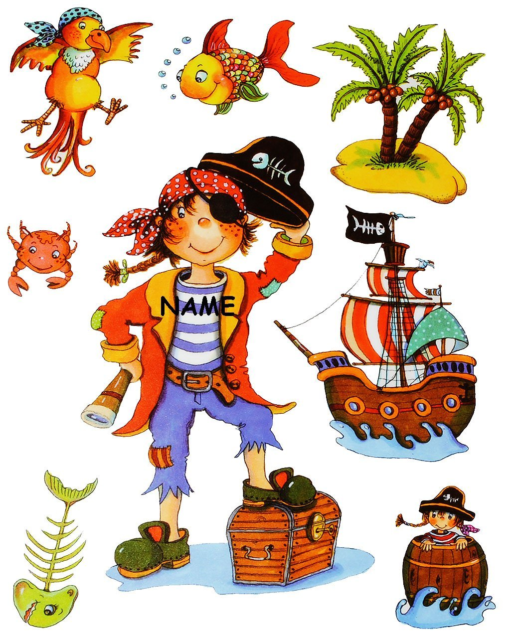alles-meine.de GmbH 8 tlg .. Piraten /& Piratenschiff statisch haftend Set /_ Fensterbilder