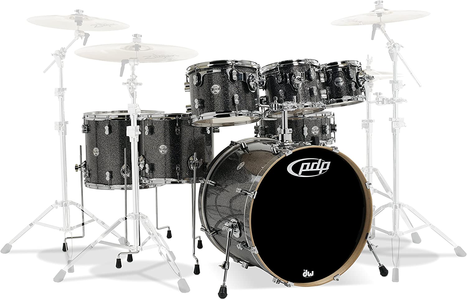PDP By DW 7-Piece Concept Maple Shell Pack with Chrome Hardware Black Sparkle (PDCM2217BP)