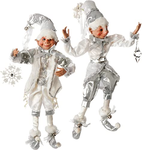 RAZ Imports 16 Silver White Posable Elves