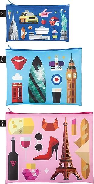 Berlin Mini Pocket 13  x  23 cm, Midi Pocket 20  x  27 cm, Maxi Pocket 25  x  32 cm London Zip Pockets: 3er Set ALEX TROCHUT Paris