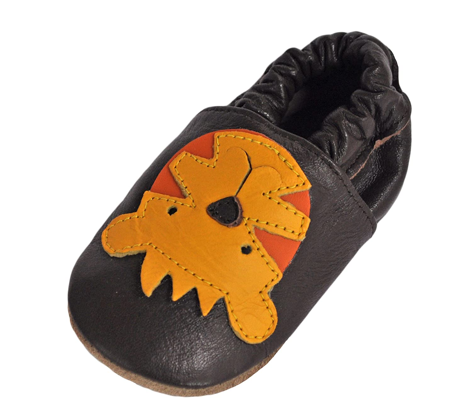 108 Little Tiger 0-6 Month Tipsie Toes Soft Sole Baby Girls Boys Leather Shoes Brown
