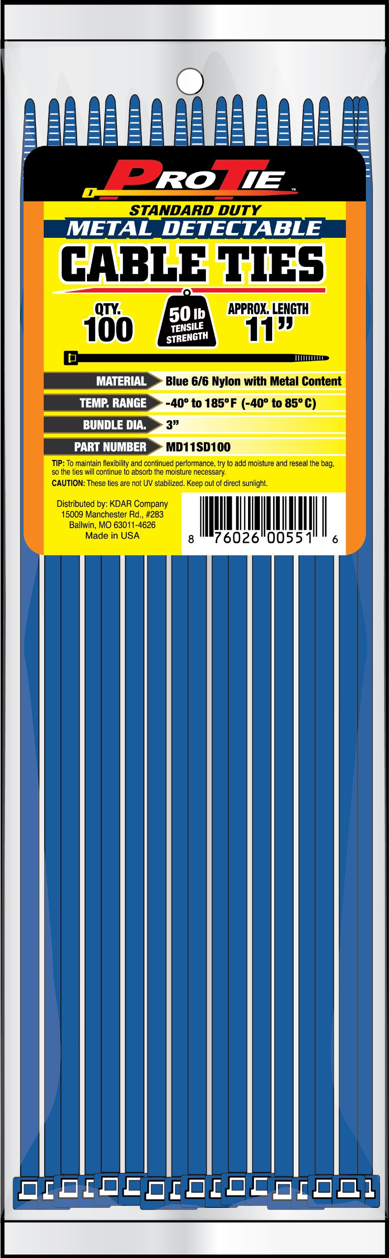 Pro Tie MD11SD100 11-Inch Metal Detectable Standard Duty Cable Ties, Blue, 100-Pack