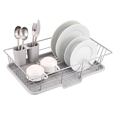 Sweet Home Collection 3 Piece Dish Drainer Rack Set 12  x 19  x 5  Silver