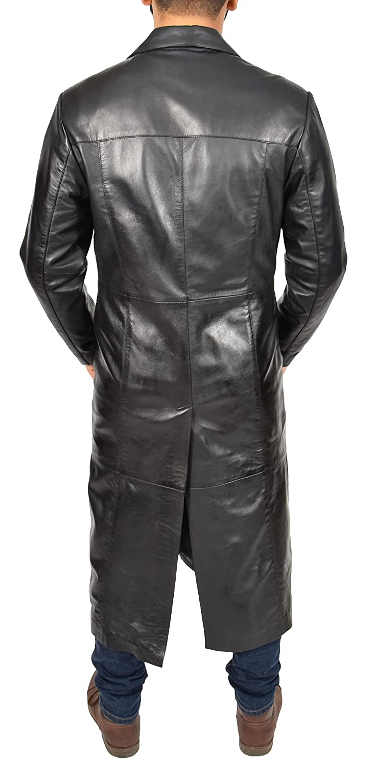 Mens 3//4 Long Black Leather Coat Crombie Style Jacket Overcoat Classic Trench