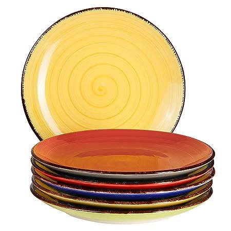 MamboCat 6 Piezas Juego de Platos Malaga | Multicolor | Redondo ...