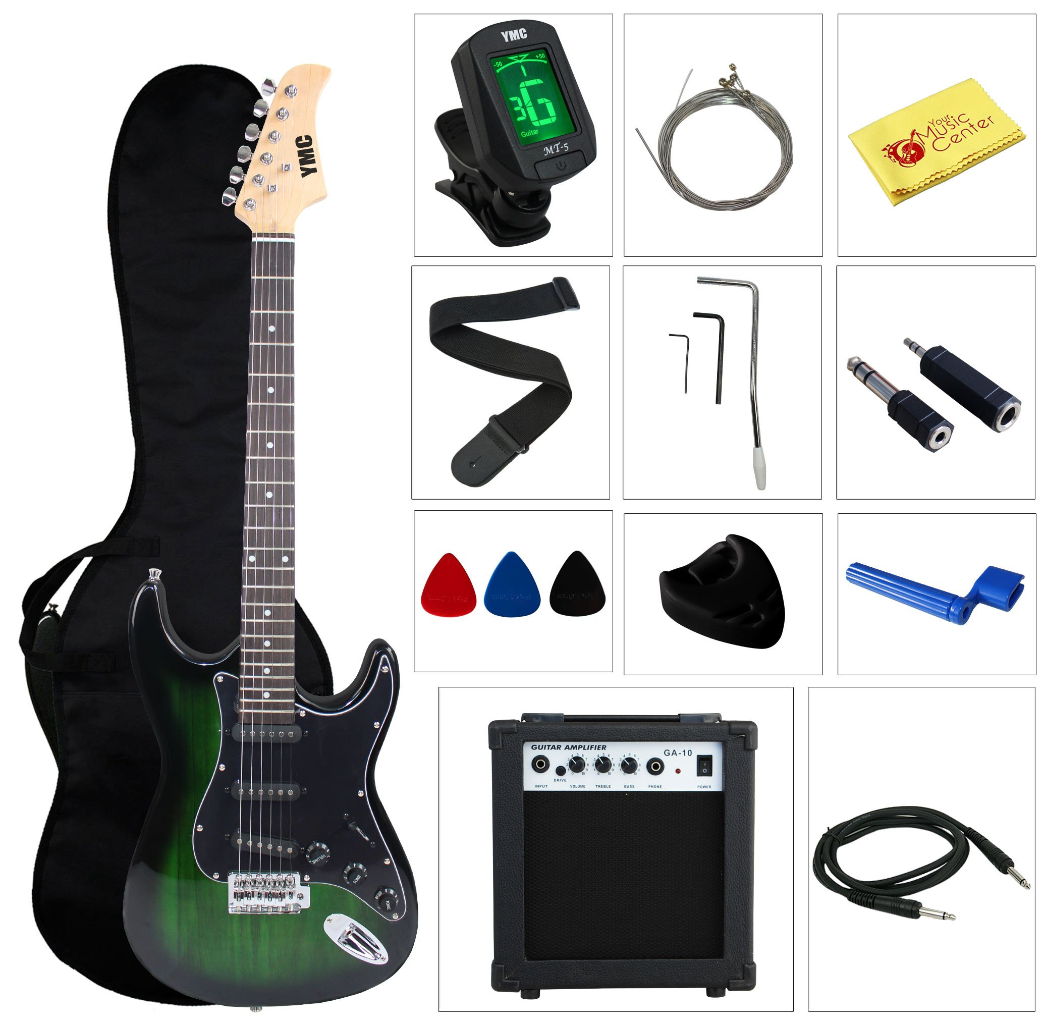 Stedman Pro EG39-TGRB-10W Beginner Series Electric Guitar with Case, Strap, Cable, Capo, Picks, Electronic Tuner, String Winder and Polish Cloth, 10W Amp, Transparent Green/Black Picguard by Stedman Pro