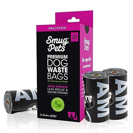 SmugPets - 315 Bolsas biodegradables para excrementos - Extragrandes y sin Perfume - 15 Bolsas/Rollo