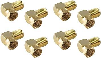 10x F-Winkelstecker Winkel SAT Adapter Kupplung Vergoldet Winkeladapter Stecker