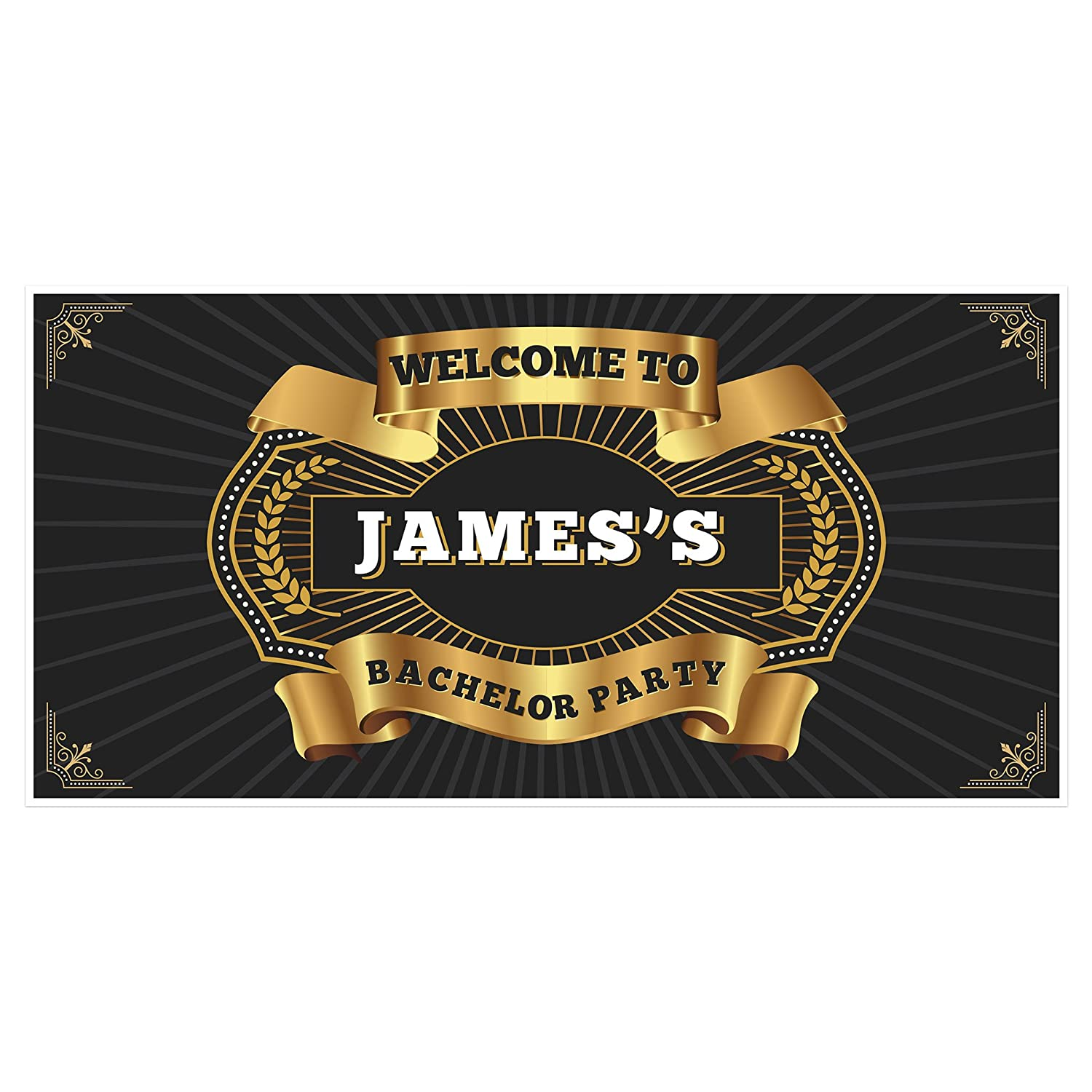 Welcome to Bachelor Party Gold Badge Banner Backdrop Decoration