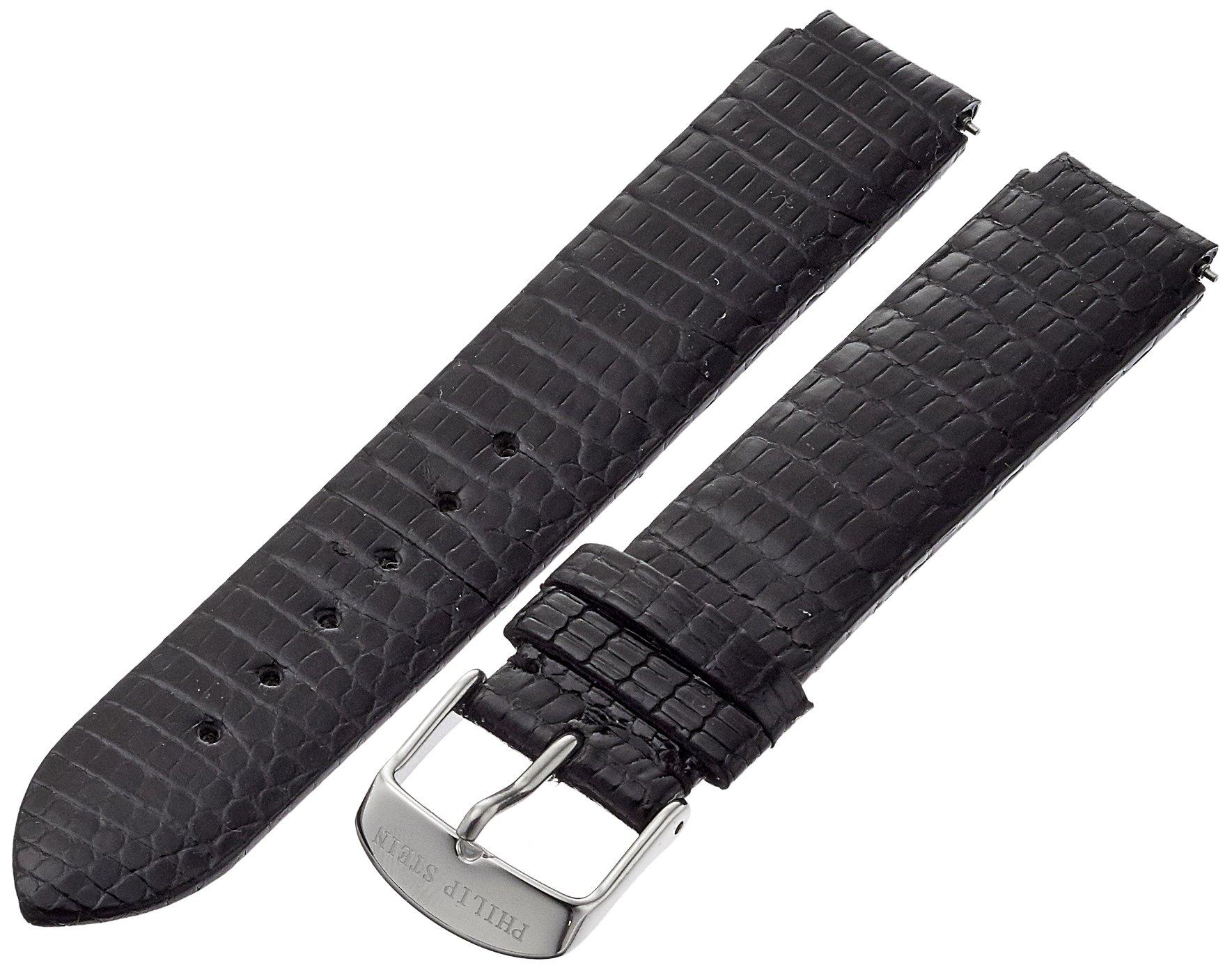 Philip Stein 1-ZB 18mm Leather Lizard Black Watch Strap by Philip Stein