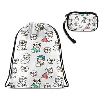 Amazon.com: Mochila con cordón inglés, diseño de perro ...