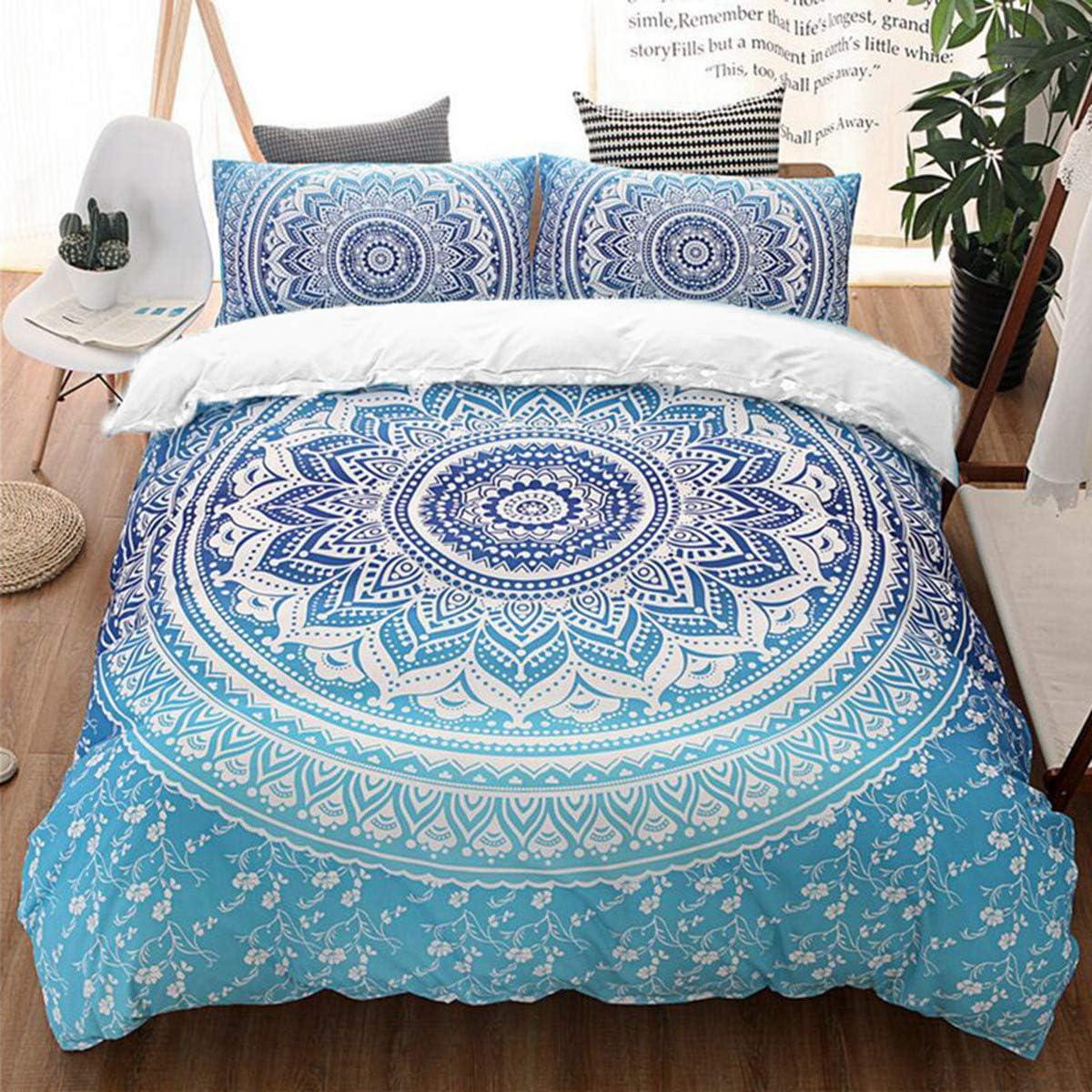"Bohemian Bedding Set Blue Mandala Duvet Cover Set Soft Mircrofiber Boho Chic Duvet Cover with Zipper Closure (Queen, 3 Pieces) 90"" x 90"""