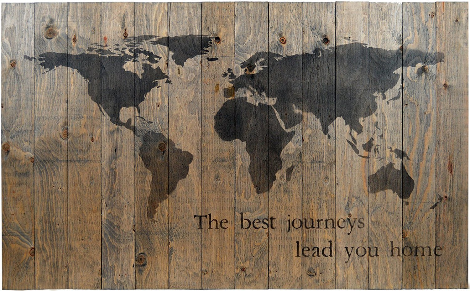 """WORLD MAP RUSTIC BARN WOOD PALLET SIGN - THE BEST JOURNEYS LEAD YOU HOME. 42""""x26"""" Handcrafted elegant antique style wall decor with inspirational quote that will look beautiful in your family home"""