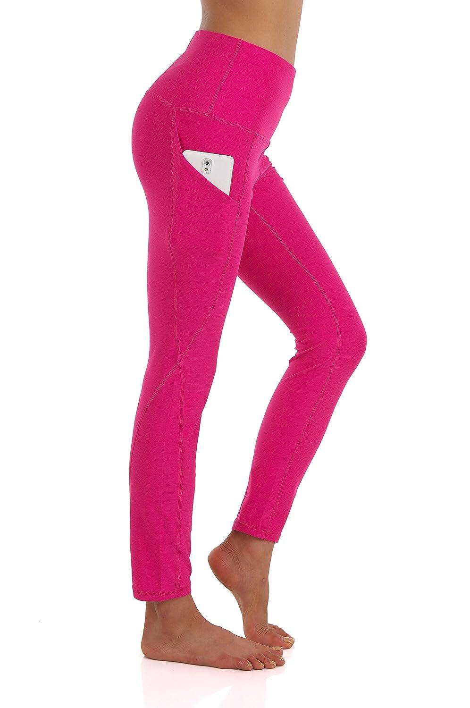 Ypw111fuchsia ZEROGSC Women's Yoga Pants  Workout Running Tummy Control Stretch Power Flex Long Capris Leggings with Out Pockets