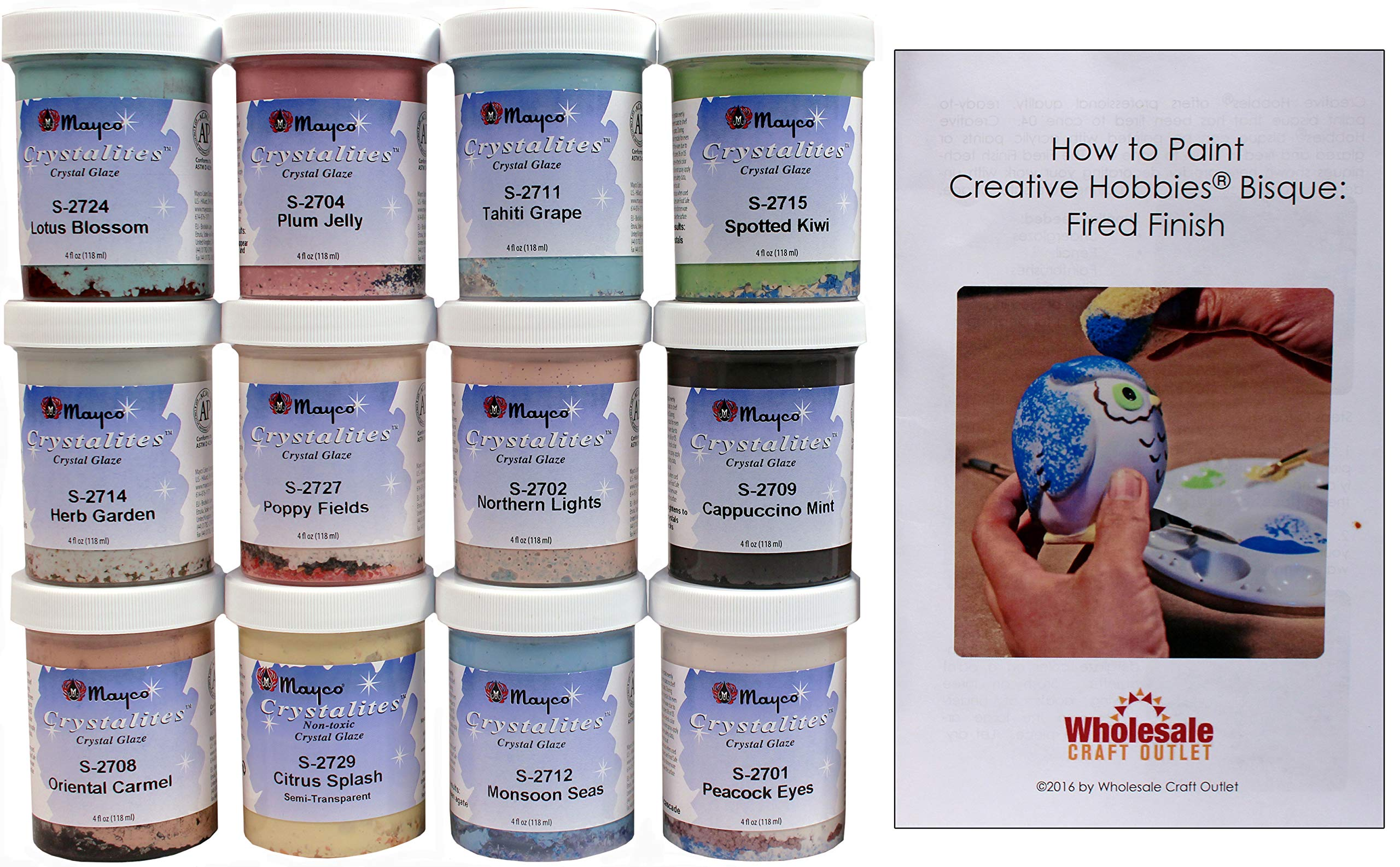 Mayco Crystalites Crystal Glaze for Ceramics - Set of 12 Colors in 4 Ounce Jars with Free How to Paint Ceramics Booklet