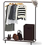 Simple Houseware Industrial Pipe Clothing Garment Rack with Bottom Shelves, Bronze