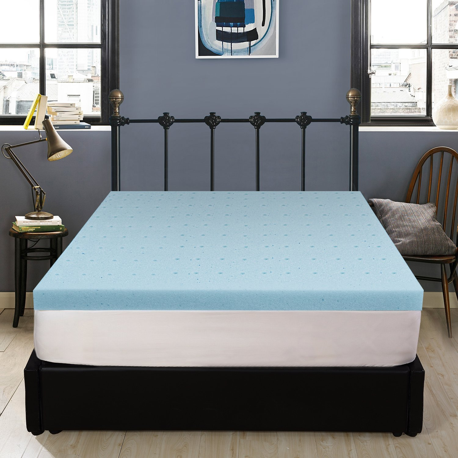 Polar Sleep 2.5 Inch Gel Memory Foam Topper, Ultra-Premium Gel-Infused Memory Foam Topper For Cooling, Air Cell Technology Increases Airflow, Queen Size