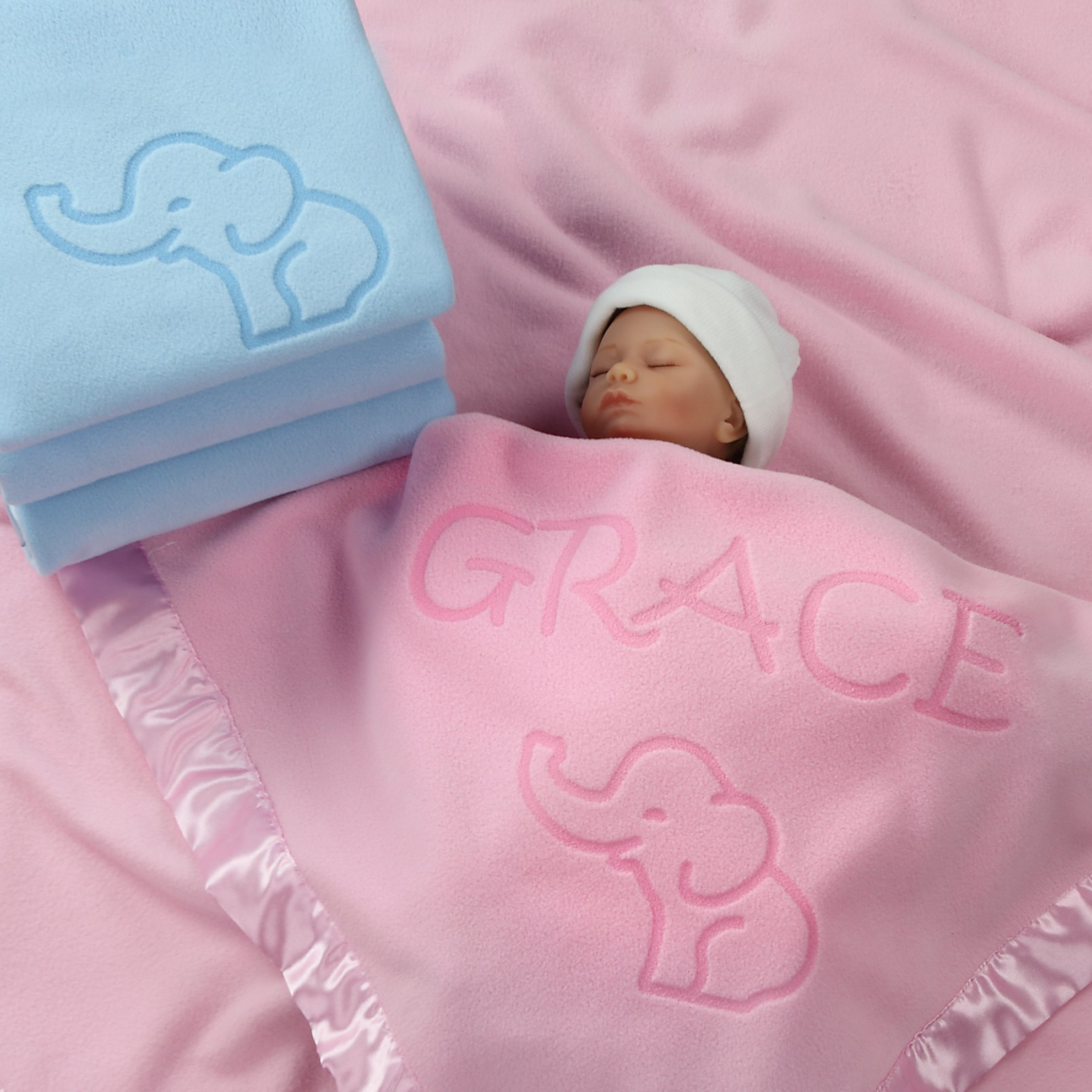 Elephant Blanket Baby Boy, Girls - Nursery Décor, Soft Plush Fleece, Pink, Blue (1 Line of Text)
