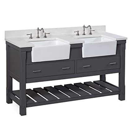 Charlotte 60 Inch Double Bathroom Vanity (Quartz/Charcoal Gray): Includes A