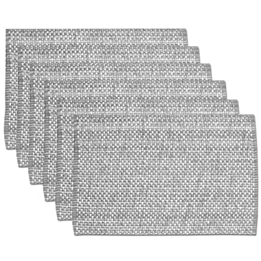 Sweet Home Collection Trends Two Tone 100% Cotton Woven Placemat (6 Pack), 13  x 19 , Gray