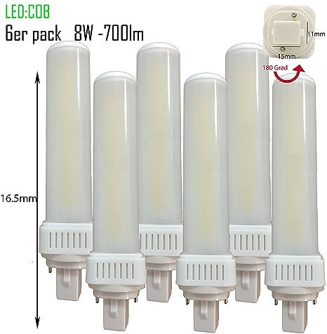 Pack de 6 LED G24d-1 pl c pin2 Bombilla PL de c 8 W 4000 ...
