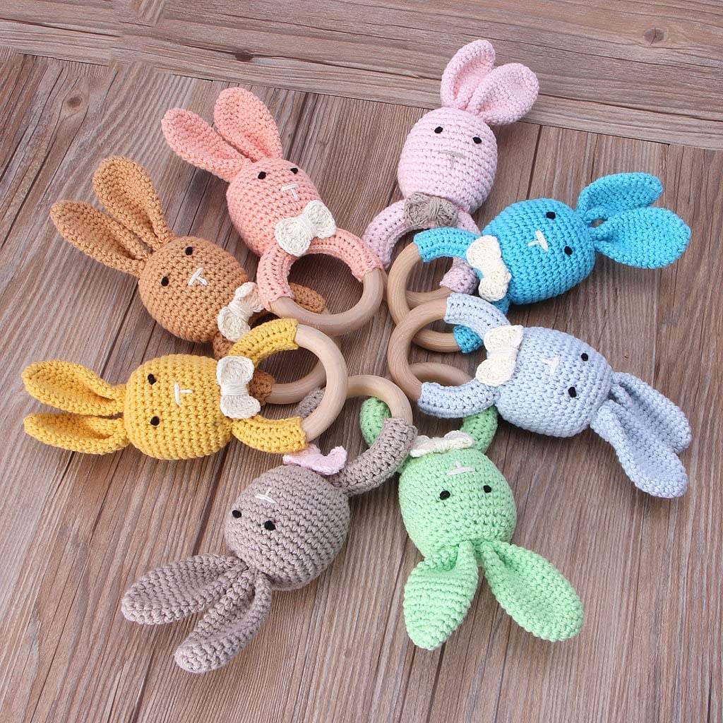 Wrubxvcd Anneau De Dentition B/éb/é,Baby Bunny Ear Teether,Wooden