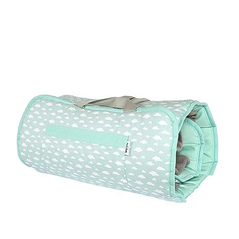 Nait Nait - Saco de Dormir Siesta Roll Nubes Verde - 100% Algodón - Enrollable