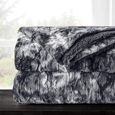 Italian Luxury Super Soft Faux Fur Throw Blanket - Elegant Cozy Hypoallergenic Ultra Plush Machine Washable Shaggy Fleece Blanket - 50 x65  - Charcoal