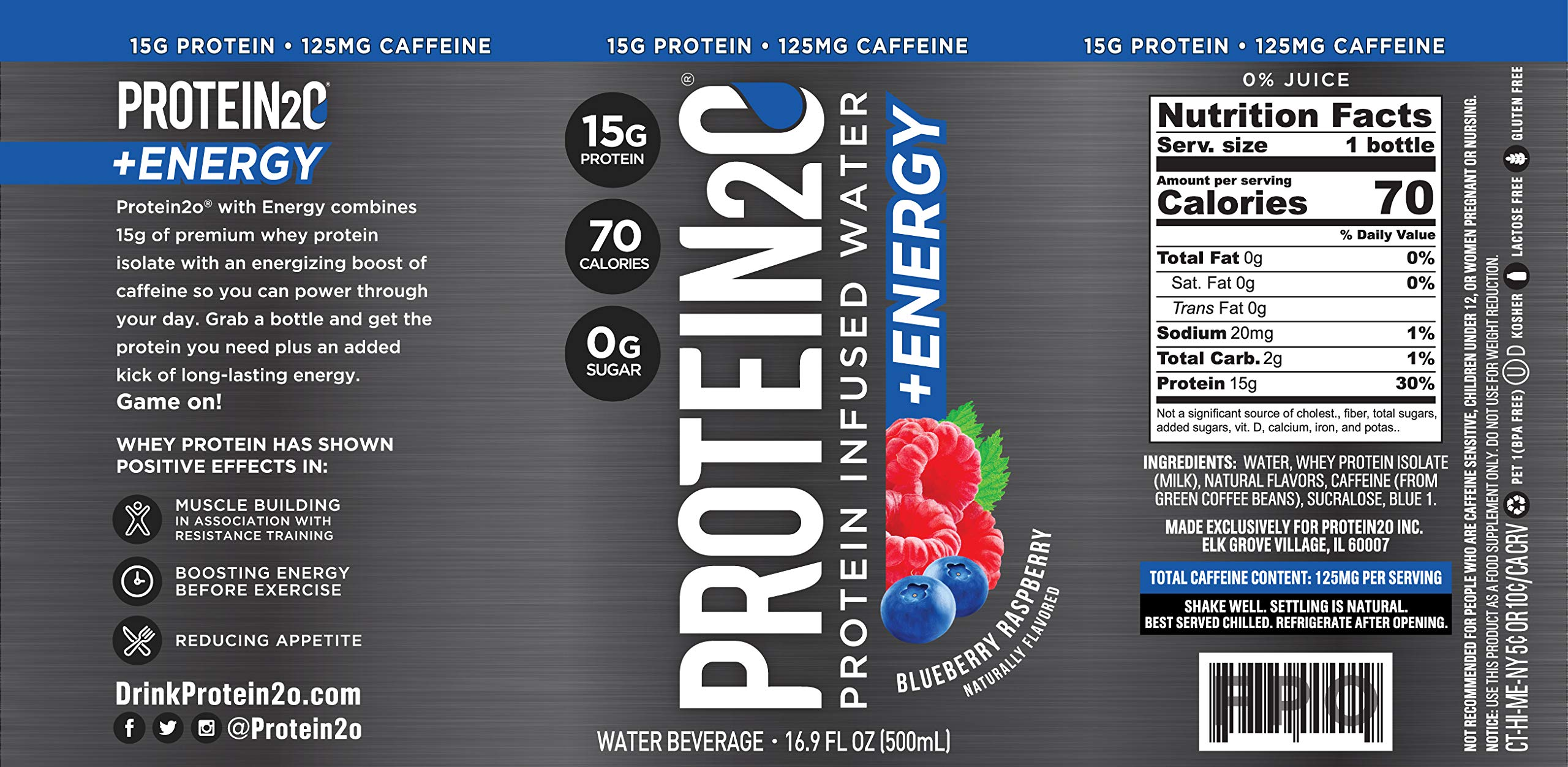Protein2o + Energy, Low Calorie Protein Infused Water, 15g Whey Protein Isolate, Blueberry Raspberry. 16.9 Oz, Pack of 12 by Protein2o