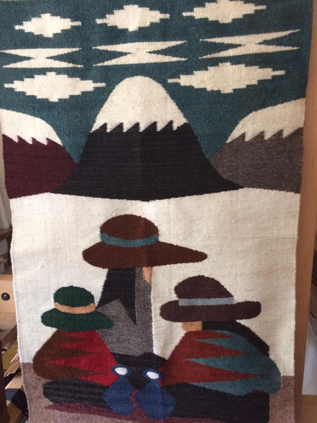 3 Peruvian Traders Resting Near Andean Peaks Handwoven Wool Tapestry