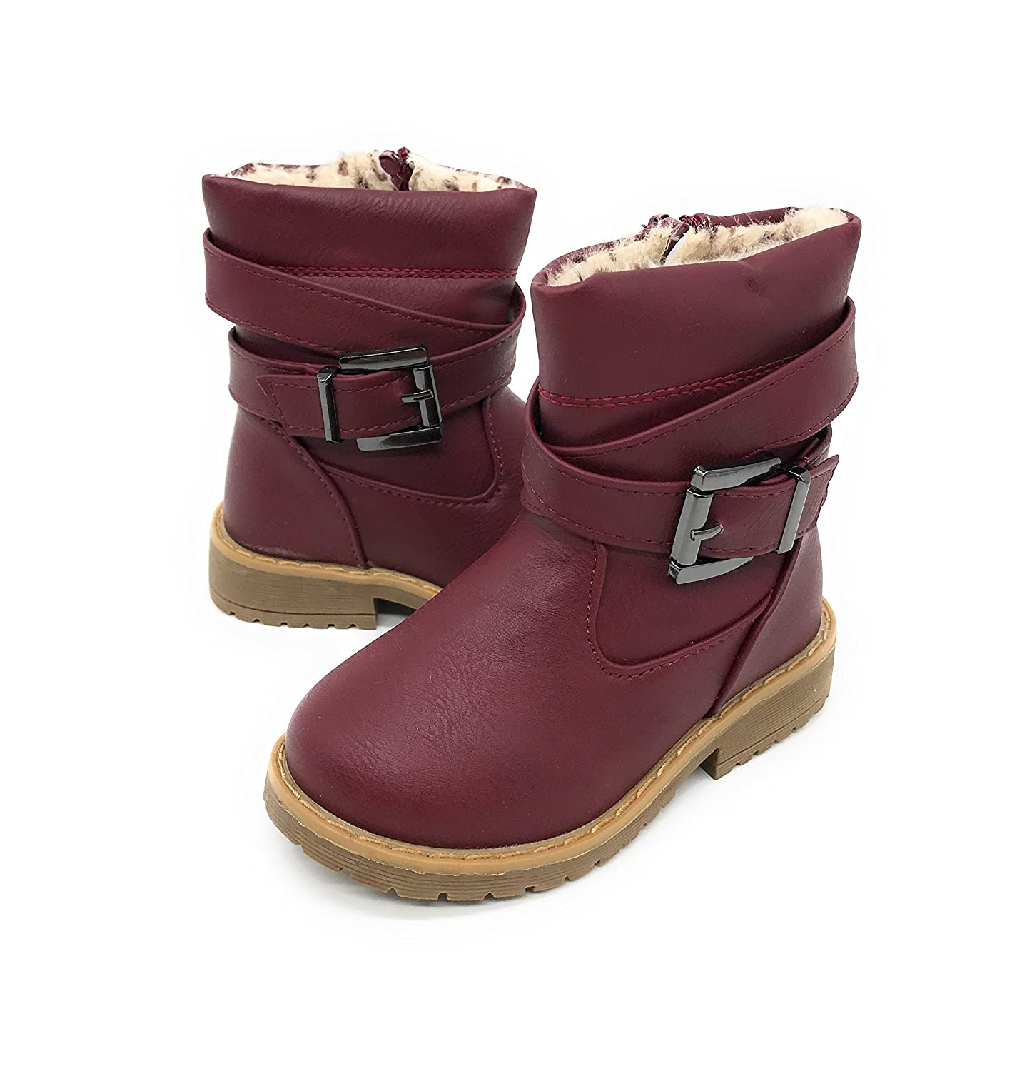 Blue Berry EASY21 Girls Fashion Cute Toddler//Infant Winter Snow Boots 4 M US Toddler, BURGUNDY12