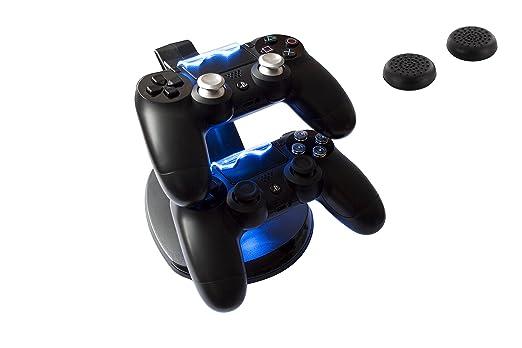 GAMINGER Ladestation für 2 PlayStation 4 Dualshock Controller, mit LED-Ladestatusanzeige, in schwarz, Aktionszugabe 2 Thumb G