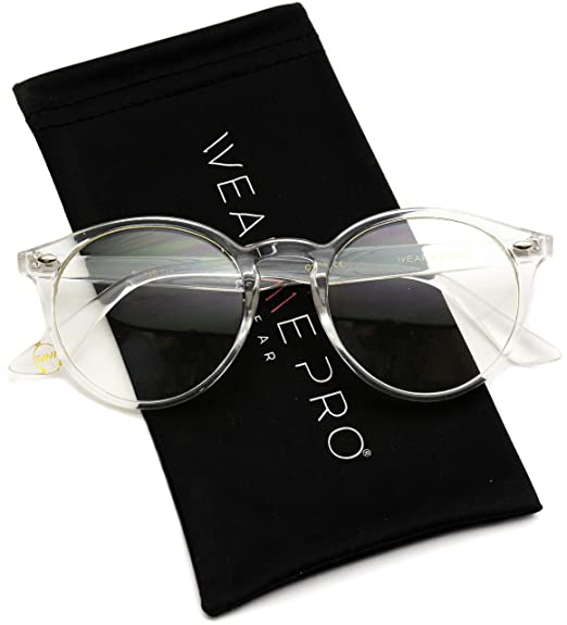 602a98c31f3eb8 Amazon.com  WearMe Pro - Transparent Clear Frame Round Hipster ...