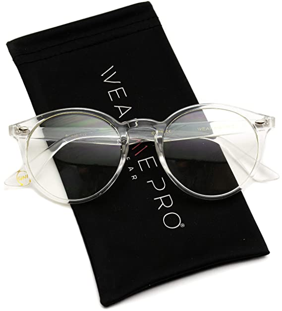 416a0ba8ba Amazon.com  WearMe Pro - Transparent Clear Frame Round Hipster ...