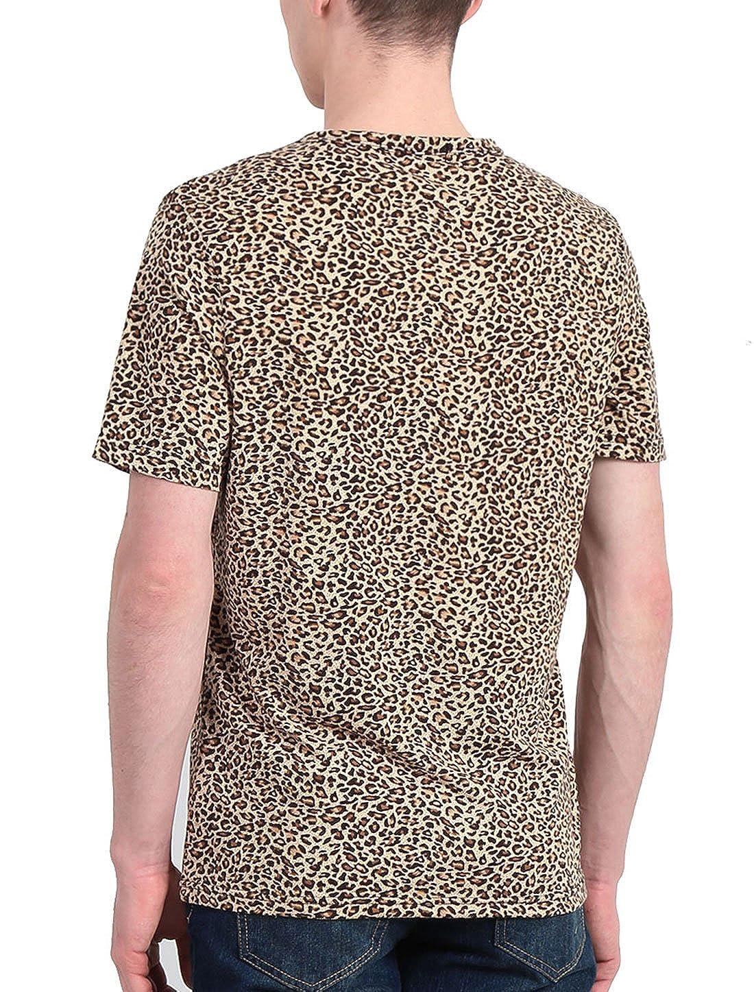 0504b75a07 Amazon.com: uxcell Men Short Sleeve Round Neck Leopard Print T Shirt:  Clothing