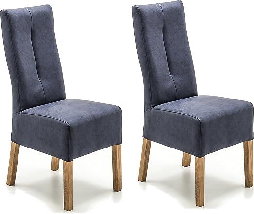 Robas Lund Stühle 2er Set Blau Dunkel, Küchenstuhl mit Kunstlederbezug, Stuhlbeine Massivholz Eiche geölt, Stuhl Fabius