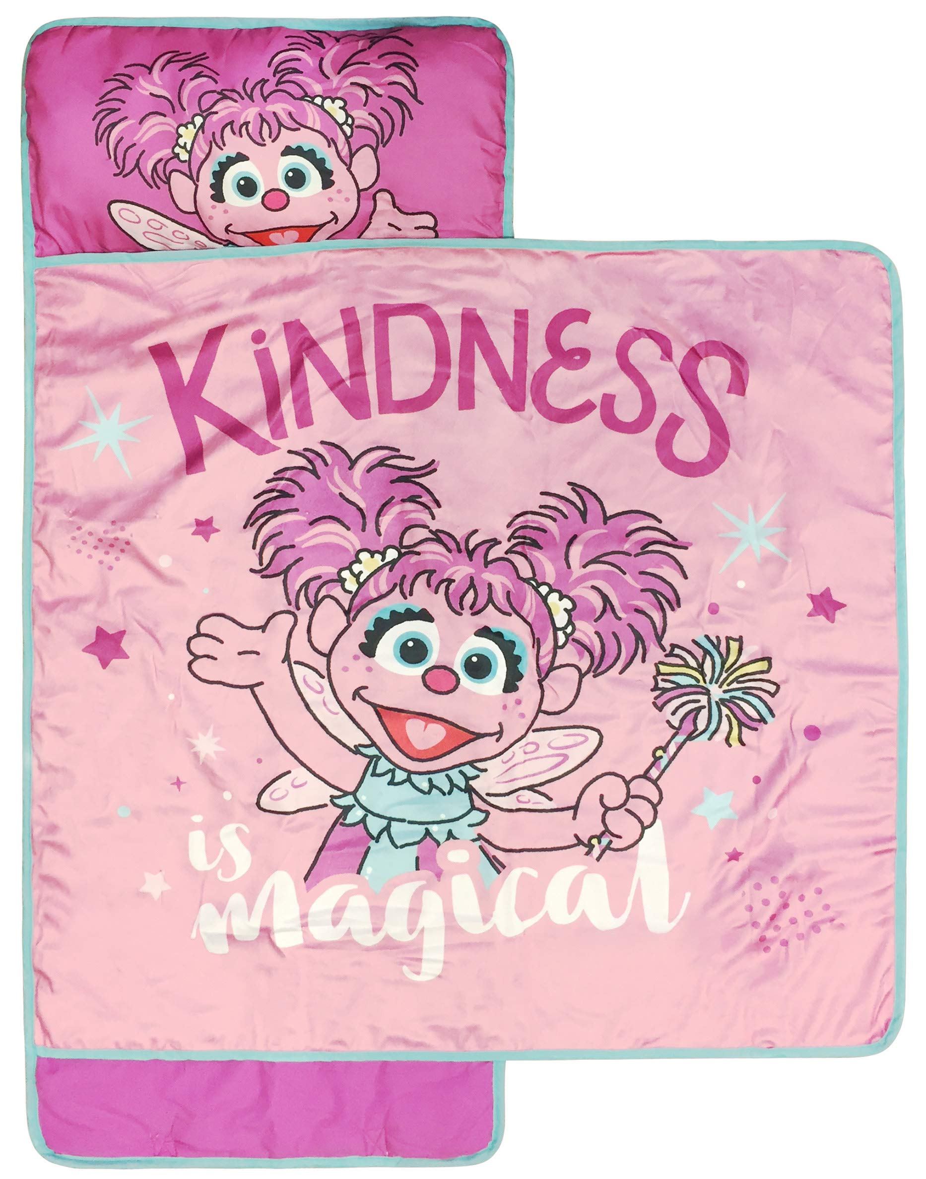 Sesame Street Kindness Is Magic Nap Mat - Built-in Pillow and Blanket featuring Abby Cadabby - Super Soft Microfiber Kids'/Toddler/Children's Bedding, Ages 3-7 (Official Sesame Street Product) by Jay Franco