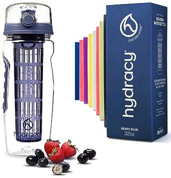 Hydracy Botella de Agua con Filtro infusor para Fruta 1Litro con Funda Aislante antitranspirante - plástico