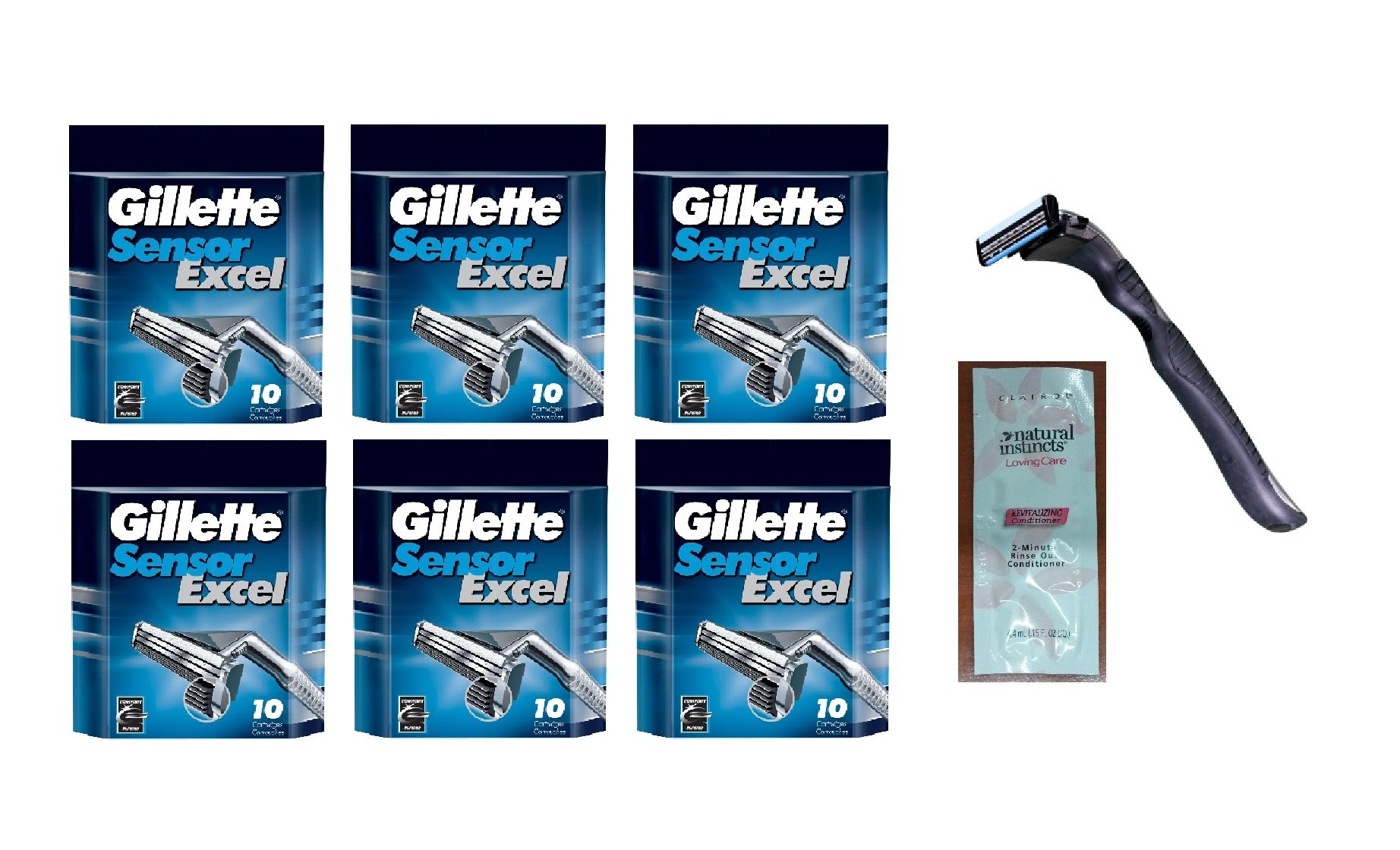 Compatible Razor Handle + Sensor Excel Refill Razor Blade Cartridges, 10 Ct. (handle holds Sensor Excel Blades) (Pack of 6) with FREE Loving Color trial size conditioner . World's Best Razor Holder ! Quality that is Out of This World ! Durable & Rugged !
