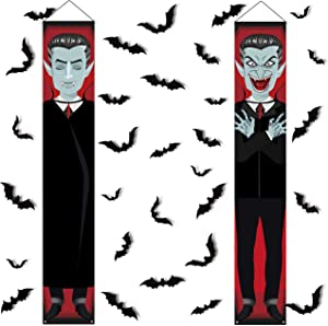 Halloween Decorations - Vampire Banners Hanging Front Door Porch Signs +30 PCS 3D Bats Stickers Party Wall Supplies Home Decor