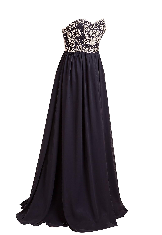 AngelDragon Strapless Beading Evening Prom Dress Long Chiffon Ball Gowns