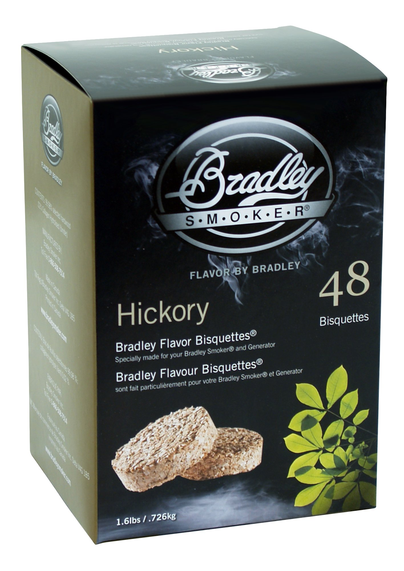 Bradley Hickory Bisquettes 1.6lb 48 pack by Bradley Smoker