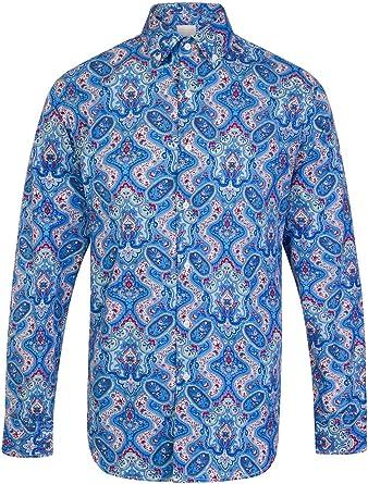 Jenson Samuel Shirts Camisa brillante con botones de Paisley para hombre, talla S-4XL